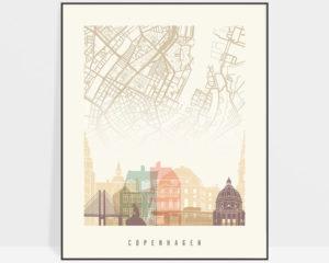Copenhagen map print poster pastel cream