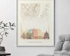 Copenhagen map print poster pastel cream second