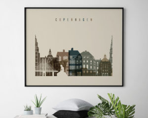 Copenhagen art print landscape earth tones 3 second