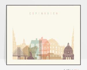 Copenhagen poster skyline pastel cream landscape