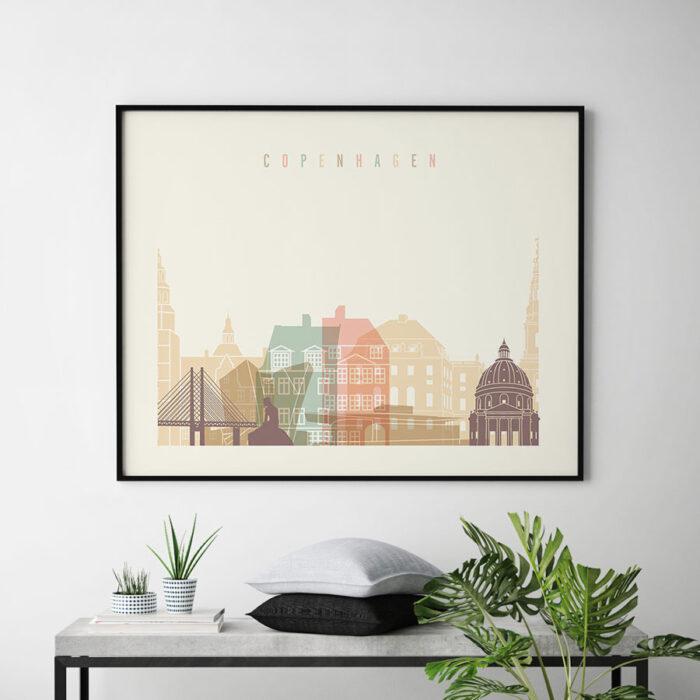 Copenhagen poster skyline pastel cream landscape second