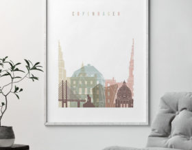 Copenhagen wall art pastel white second