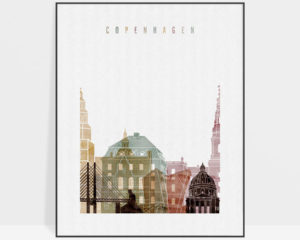 Copenhagen skyline art print watercolor 1