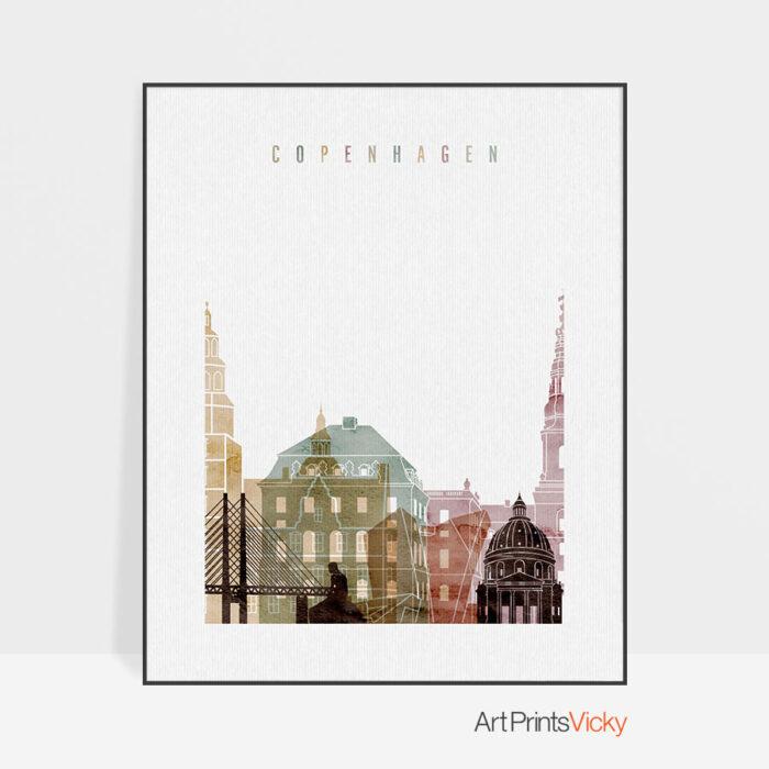 Copenhagen skyline art print watercolor 1