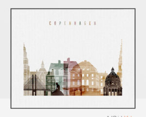 Copenhagen skyline poster watercolor 1 landscape