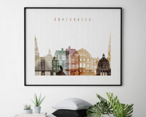 Copenhagen skyline poster watercolor 1 landscape second