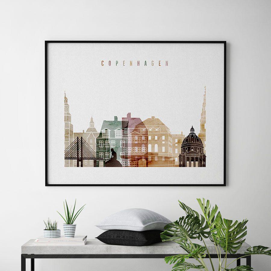 Copenhagen skyline poster watercolor 1 landscape second