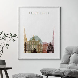 Copenhagen skyline art print watercolor 1 second