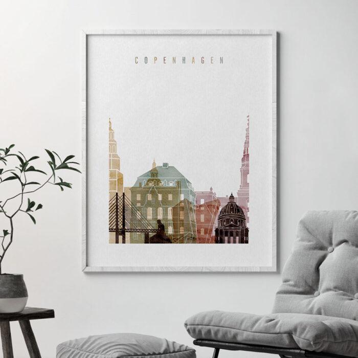 Copenhagen skyline art print watercolor 1 second