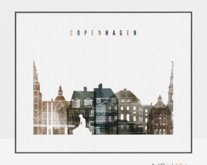 Copenhagen art print watercolor 2 landscape