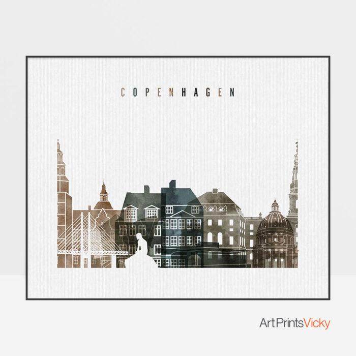 Copenhagen art print watercolor 2 landscape