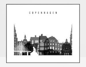 Copenhagen black and white skyline poster landscape