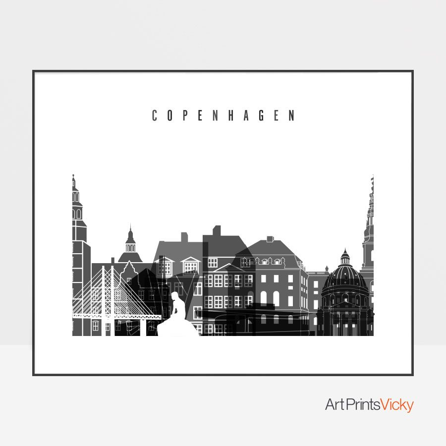 Copenhagen black and white skyline poster landscape