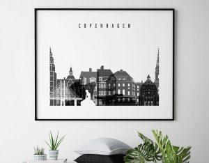 Copenhagen black and white skyline poster landscape second