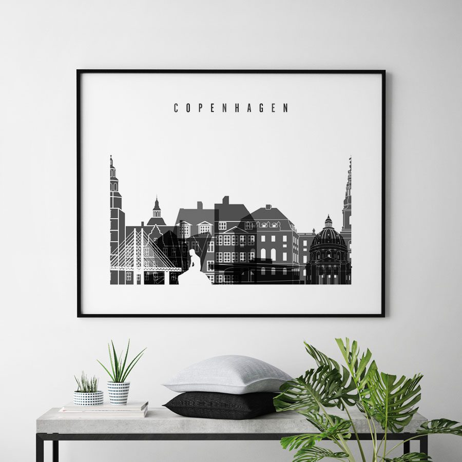 Copenhagen black and white skyline poster landscape second