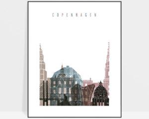 Copenhagen skyline poster distressed 1