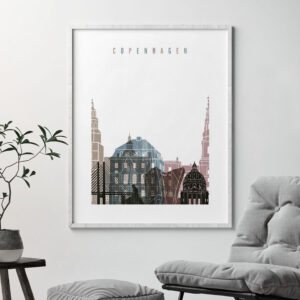 Copenhagen skyline poster distressed 1 second