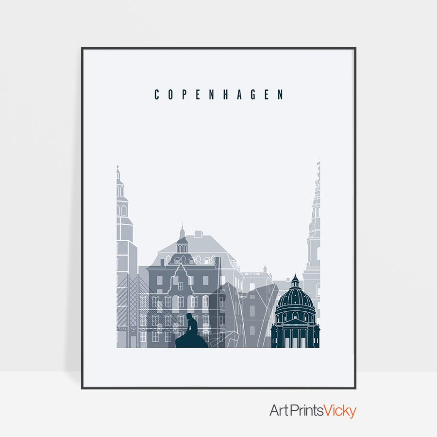 Copenhagen skyline poster grey blue