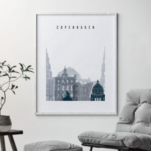 Copenhagen skyline poster grey blue second
