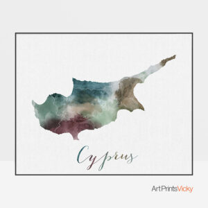 Cyprus map poster