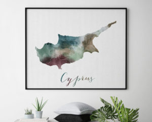 Cyprus map poster second