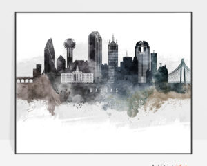 Dallas art poster watercolor