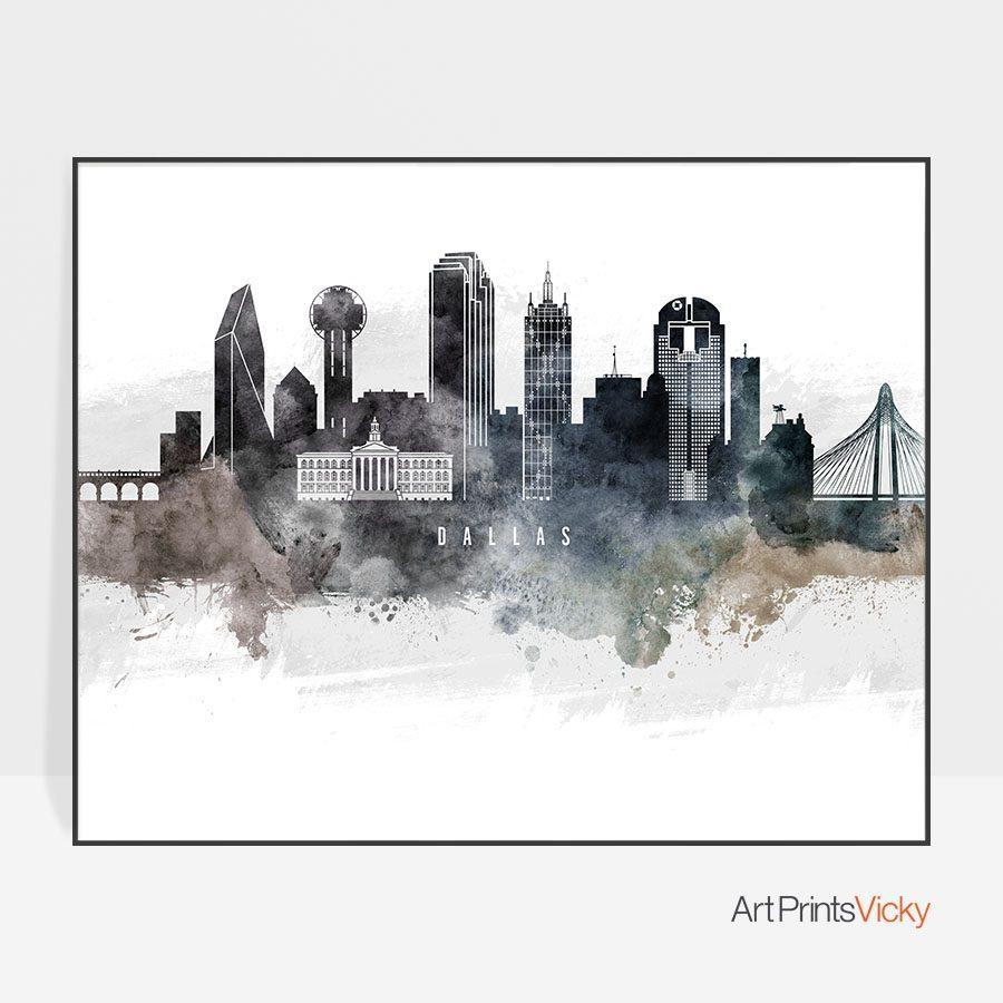 Dallas art poster watercolor