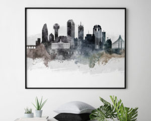Dallas art poster watercolor second