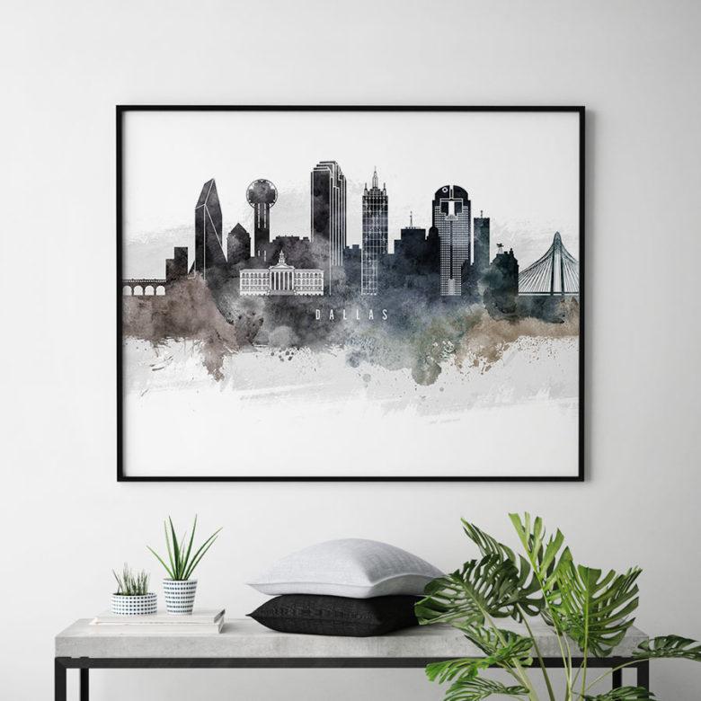 Dallas art poster watercolor second