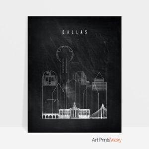 Dallas chalkboard black white skyline print