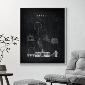Dallas chalkboard black white skyline print second