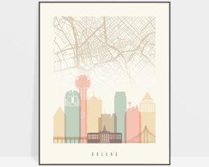 Dallas map print poster pastel cream
