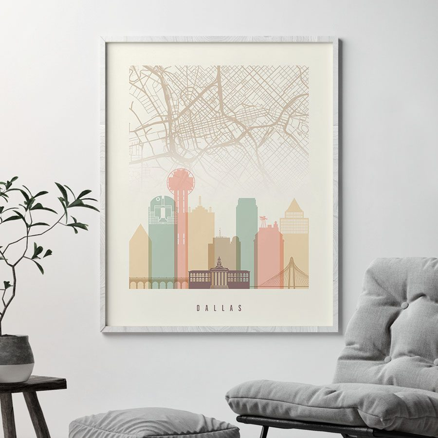 Dallas map print poster pastel cream second