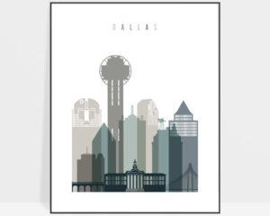 Dallas art print skyline earth tones 4