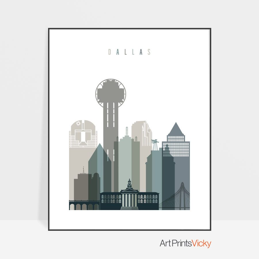 Dallas art print skyline earth tones 4