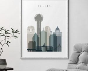 Dallas art print skyline earth tones 4 second