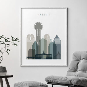 Dallas art print skyline earth tones 4 second