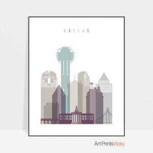 Dallas print skyline pastel 2