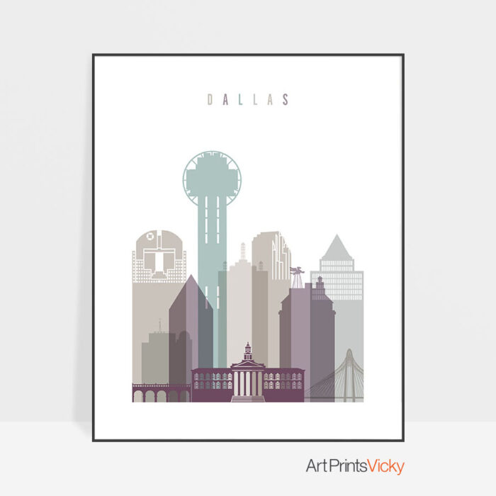 Dallas print skyline pastel 2