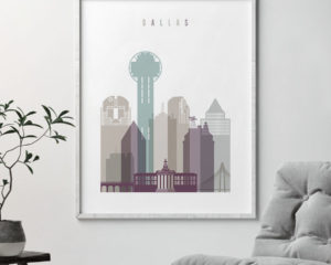Dallas print skyline pastel 2 second