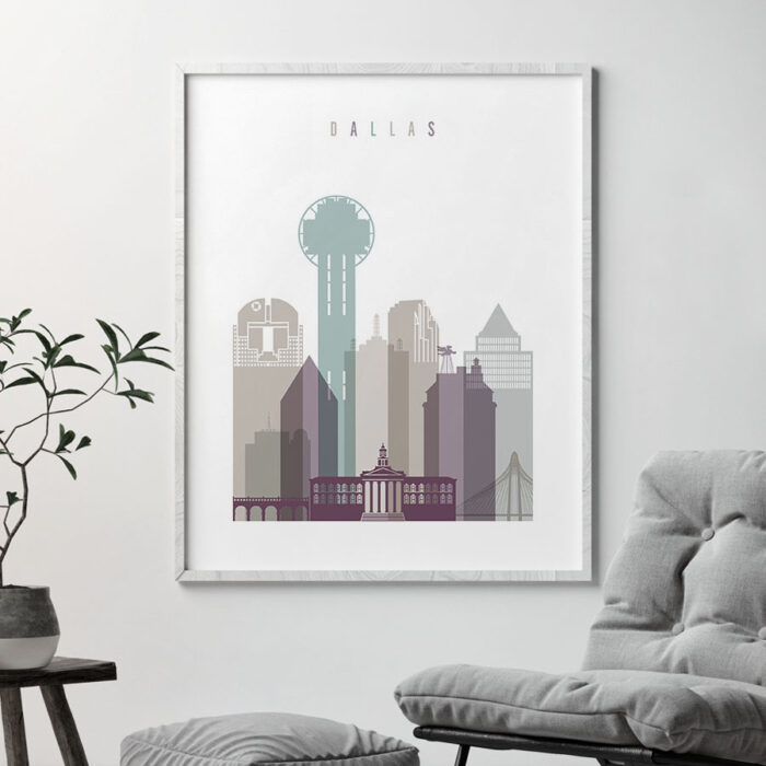 Dallas print skyline pastel 2 second