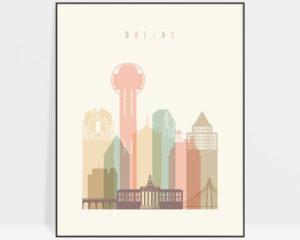 Dallas art print pastel cream