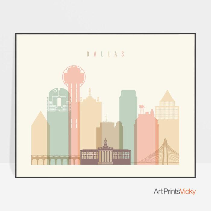 Dallas poster skyline pastel cream landscape