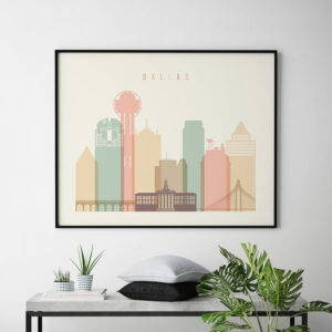 Dallas poster skyline pastel cream landscape second