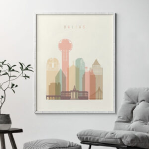 Dallas art print pastel cream second