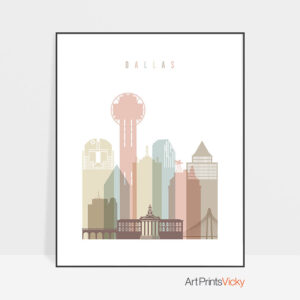 Dallas wall art pastel white