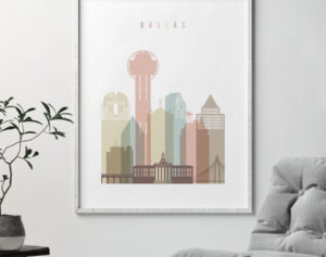 Dallas wall art pastel white second