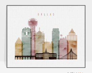 Dallas skyline poster watercolor 1 landscape