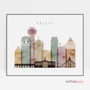 Dallas skyline poster watercolor 1 landscape