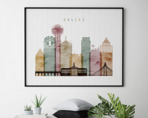 Dallas skyline poster watercolor 1 landscape second